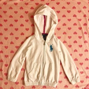 Polo zip-up hoodie for toddler girl